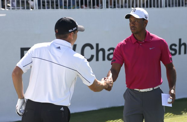 Tiger Woods and Sergio Garcia start their third round at the BMW Championship, the third event of the 2013 FedEx Cup playoffs on PGA Tour, at Conway Farms near Chicago.