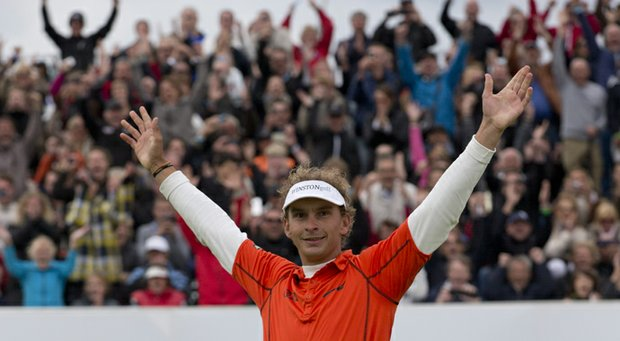 Joost Luiten celebrates winning the KLM Open after defeating Miguel Angel Jimenez in a playoff.