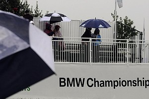 Rain drenched Sunday's final round of the 2013 BMW Championship, the third event of the PGA Tour's FedEx Cup playoffs, at Conway Farms near Chicago.