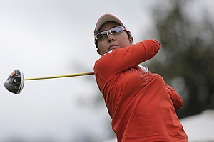 Mika Miyazato during Sunday's final round of the 2013 Evian Championship, the LPGA's fifth major, in France.