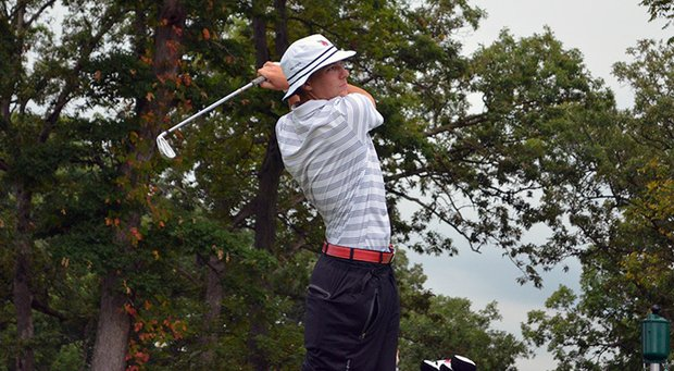 Ball State's Tyler Merkel during the first round of the Golfweek Conference Challenge.