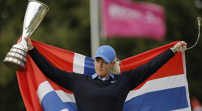 Suzann Pettersen after winning her second major title at the 2013 Evian Championship in France, the LPGA's fifth major.