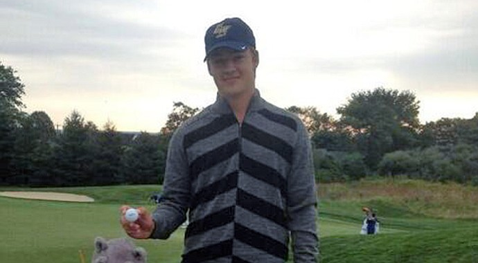 George Washington's Lucas Farmer after making an ace on his fifth hole of college golf Sept. 16 at the Adams Cup of Newport.
