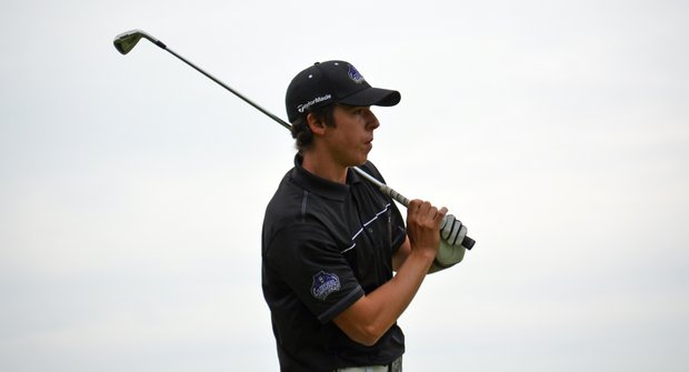 Pep Angles of Central Arkansas after hitting his tee shot on the first hole during the final round of the Golfweek Conference Challenge at Spirit Hollow Golf Course.