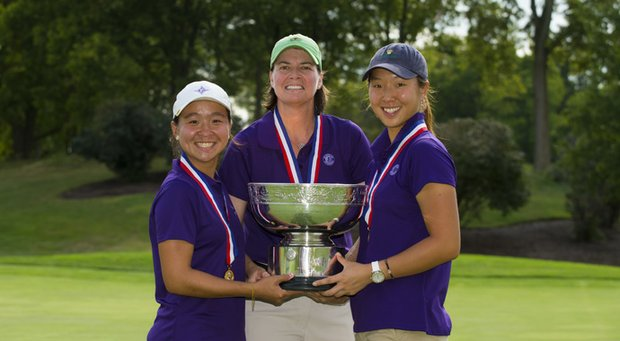 Cindy Ha, Tara Fleming and Alice Chen hoist the trophy for New Jersey at the U.S. Women's State Team Championship.