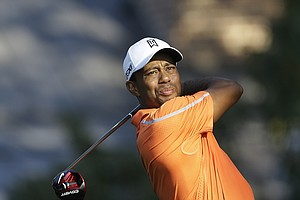 Tiger Woods during Thursday's first round of the Tour Championship, the final event of the 2013 FedEx Cup playoffs on PGA Tour, at East Lake in Atlanta.