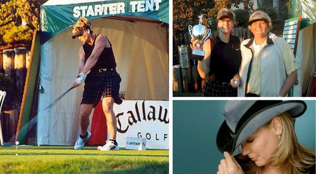 Lee Brandon overcame nearly severing her arm to becoming the women's long-drive champion. In the upper right photo, Brandon is pictured with LPGA legend Laura Davies.