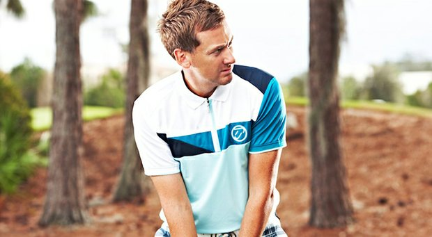 Ian Poulter, founder of IJP Design, shows off one of the shirts for the 2013 Autumn/Winter Collection.