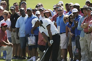 Tiger Woods during Friday's second round at the Tour Championship, the final event of the 2013 FedEx Cup playoffs on PGA Tour, at East Lake in Atlanta.