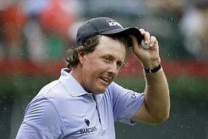 Phil Mickelson during Saturday's third round of the Tour Championship, the final event of the 2013 FedEx Cup playoffs on PGA Tour, at East Lake in Atlanta.