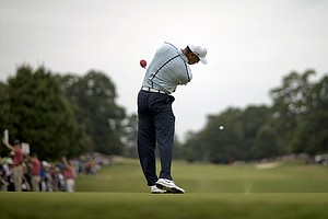 Tiger Woods during Saturday's third round of the Tour Championship, the final event of the 2013 FedEx Cup playoffs on PGA Tour, at East Lake in Atlanta.
