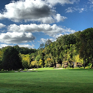 The approach shot into No. 9 at The Golf Club of Tennessee.