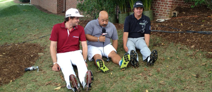 "Keegan Bradley (left) and Jason Dufner (right) ""Dufnering"" with a reporter after the final round of the 2013 Tour Championship at East Lake in Atlanta."