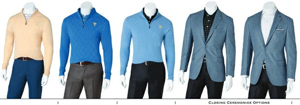 The International Team's apparel for the 2013 Presidents Cup from Peter Millar including Friday-Sunday to Closing Ceremonies.