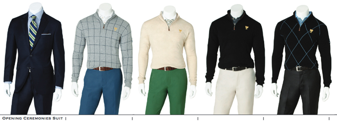 The International Team's apparel for the 2013 Presidents Cup from Peter Millar including Opening Ceremonies to Monday-Thursday.