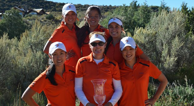 The Pepperdine women's golf team with the Golfweek Conference Challenge trophy. Front row, from left: Liv Cheng, head coach Laurie Gibbs, Somin Lee. Top row, from left, Grace Na, Marissa Chow, Alina Ching.