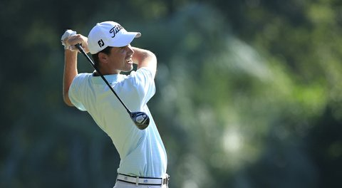 Chesson Hadley hits a drive during the second round of the Web.com Tour Championship held on the Dye's Valley Course at TPC Sawgrass.
