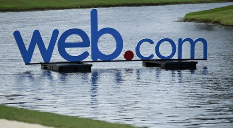The Web.com logo is displayed during the second round of the Web.com Tour Championship held on the Dye's Valley Course at TPC Sawgrass.