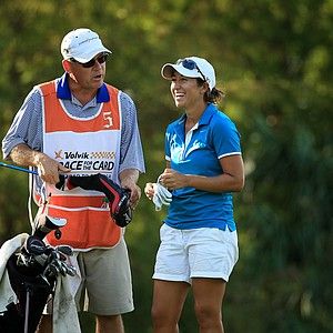 Marina Alex with her dad/caddie Steve at the Symetra Tour Championship Presented by Embry-Riddle Aeronautical University, during the final round.