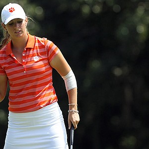Clemson freshman Ashlan Ramsey reacts to making a putt