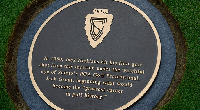 The Jack Nicklaus plaque at Scioto Country Club.