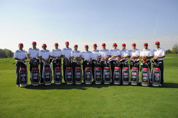 Members of the U.S. team (from left): Jay Haas, Keegan Bradley, Jason Dufner, Bill Haas, Matt Kuchar, Hunter Mahan, Fred Couples, Phil Mickelson, Webb Simpson, Brandt Snedeker, Jordan Spieth, Steve Stricker, Tiger Woods and Davis Love III