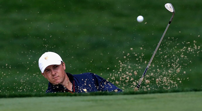 USA's Jordan Spieth hits a bunker shot on the seventh hole during the Day 1 Four-Ball Matches at the Presidents Cup.