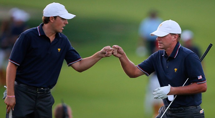 Jordan Spieth and Steve Stricker of Team USA celebrate on the 18th hole during the Presidents Cup.