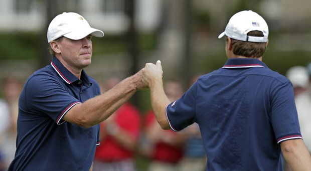 Steve Stricker and Jordan Spieth during their opening match of the 2013 Presidents Cup at Muirfield Village.