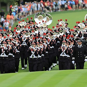 The Ohio State University marching band plays prior to the start of the Day One Four-Ball Matches at the Muirfield Village GC.