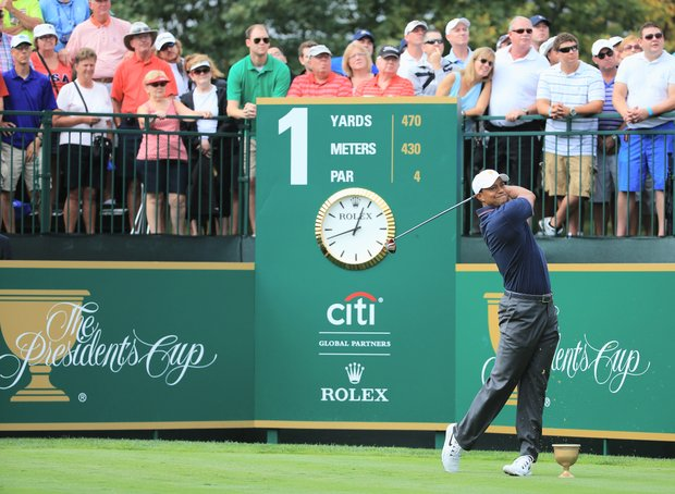 Team USA's Tiger Woods hits his tee shot on the first hole during the Day 1 Four-Ball Matches for the Presidents Cup.