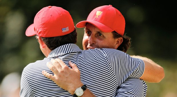 Phil Mickelson and Keegan Bradley during their foursomes match Friday at the Presidents Cup.