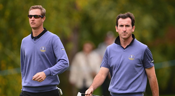 Nicolas Colsaerts and Gonzalo Fernandez Castano during Day 2 play in the Seve Trophy.