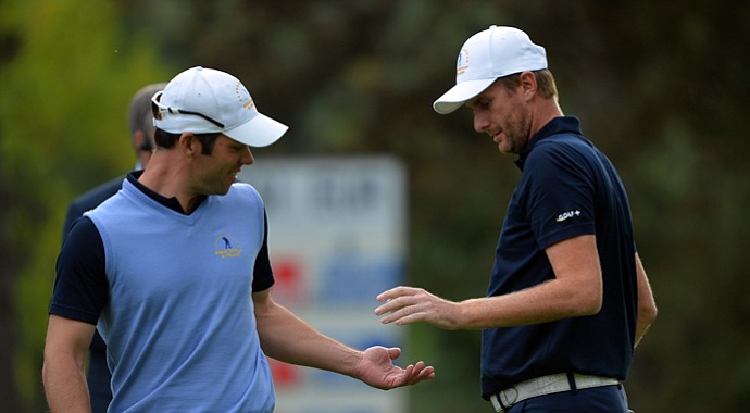 Paul Casey and David Lynn during Day 3 play at the 2013 Seve Trophy.