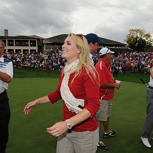 Lindsey Vonn after Woods 1-up victory over Richard Sterne of the International Team.