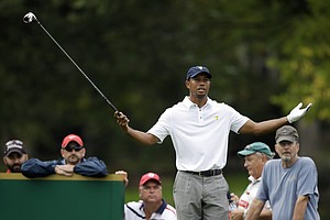 Tiger Woods during singles play on the final day of the U.S.' 2013 Presidents Cup win at Muirfield Village.