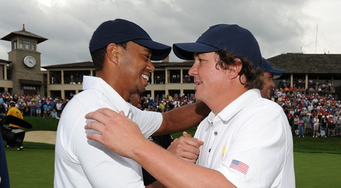 Tiger Woods and Jason Dufner celebrate the U.S.' win in the 2013 Presidents Cup at Muirfield Village.