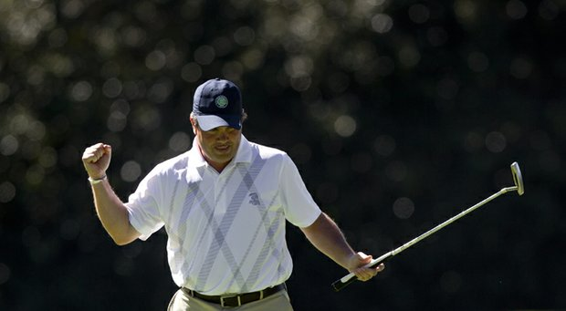 Davis Boland after defeating stroke-play medalist Matthew Mattare in the first round of match play at the 2013 U.S. Mid-Amateur.