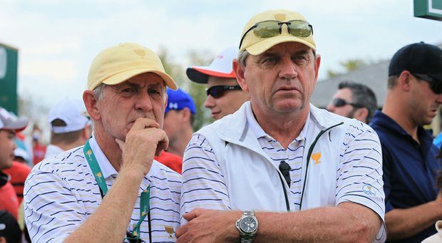 Tony Johnstone (left), with International captain Nick Price during the 2013 Presidents Cup at Muirfield Village