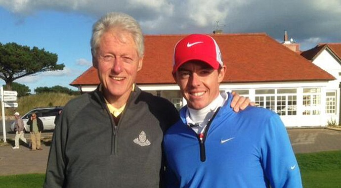 Former President Bill Clinton and Rory McIlroy played golf together on Oct. 10 in Ireland.