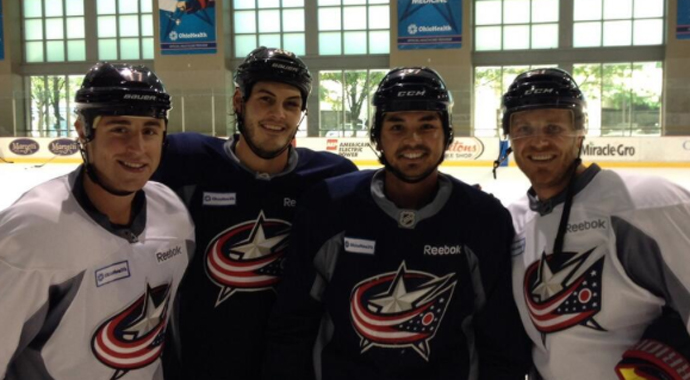 Jason Day gets on the ice with the Columbus Blue Jackets.