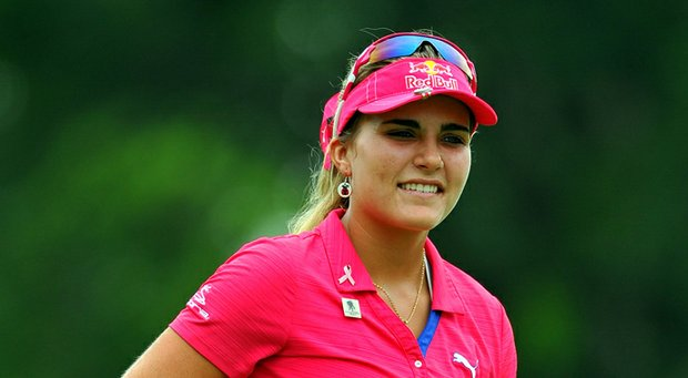 Lexi Thompson reacts on the ninth hole during Day 3 of the Sime Darby LPGA at Kuala Lumpur Golf & Country Club.