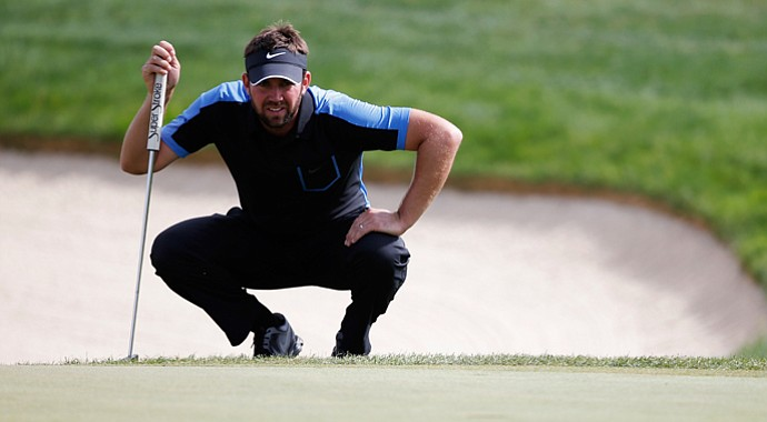 Scott Jamieson lines up a putt on the 14th green during the third round of the Portugal Masters.