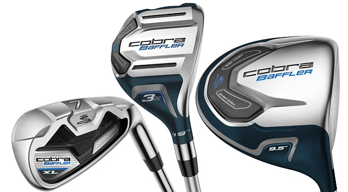 The new Cobra Baffler XL line will build on its hybrid heritage (center) with irons, drivers and fairway woods (not shown).