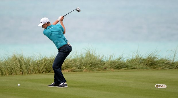 Justin Rose during the first round of the PGA Grand Slam of Golf at Port Royal Golf Course.