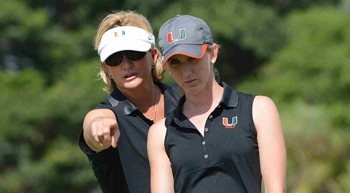 Miami head coach Patti Rizzo and junior Kailey Walsh