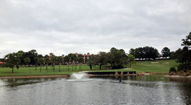 View of the par-3 eighth hole at Mission Inn Resort's El Campeon Course.