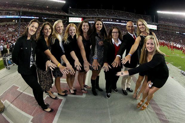 Alabama's women with their SEC Championship rings