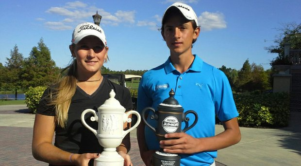 Bailey Tardy, left, and Luis Garza won the Golfweek Junior Invitational at Shingle Creek.