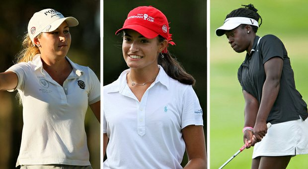 From left to right, Shannon Aubert, Nicole Morales and Lakareber Abe are among the top girls players in the Class of 2014.